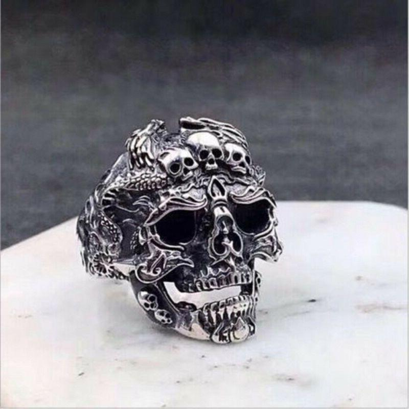 Cool Men's Stainless Gothic Boy Biker Ring Jewelry