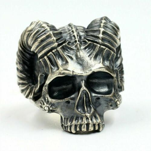 Cool Mens Alloy Gothic Head Ring