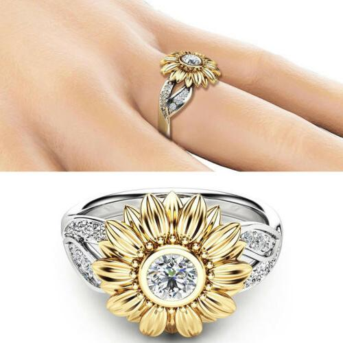 Crystal Sunflower Girls White Wedding Ring Size 6-10 Gift