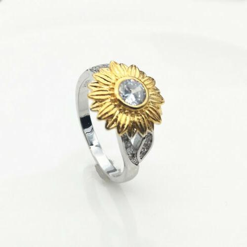 Crystal Sunflower Ring Girls Topaz Ring