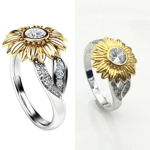 Crystal Sunflower Girls White Topaz Wedding Ring Gift