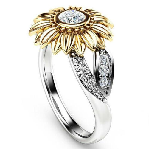 crystal sunflower ring women girls white topaz