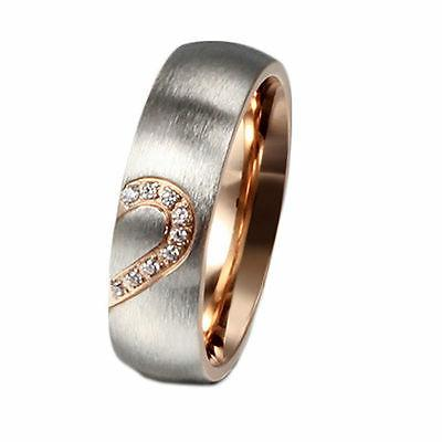 CZ Rings Love Heart Brushed Steel Promise