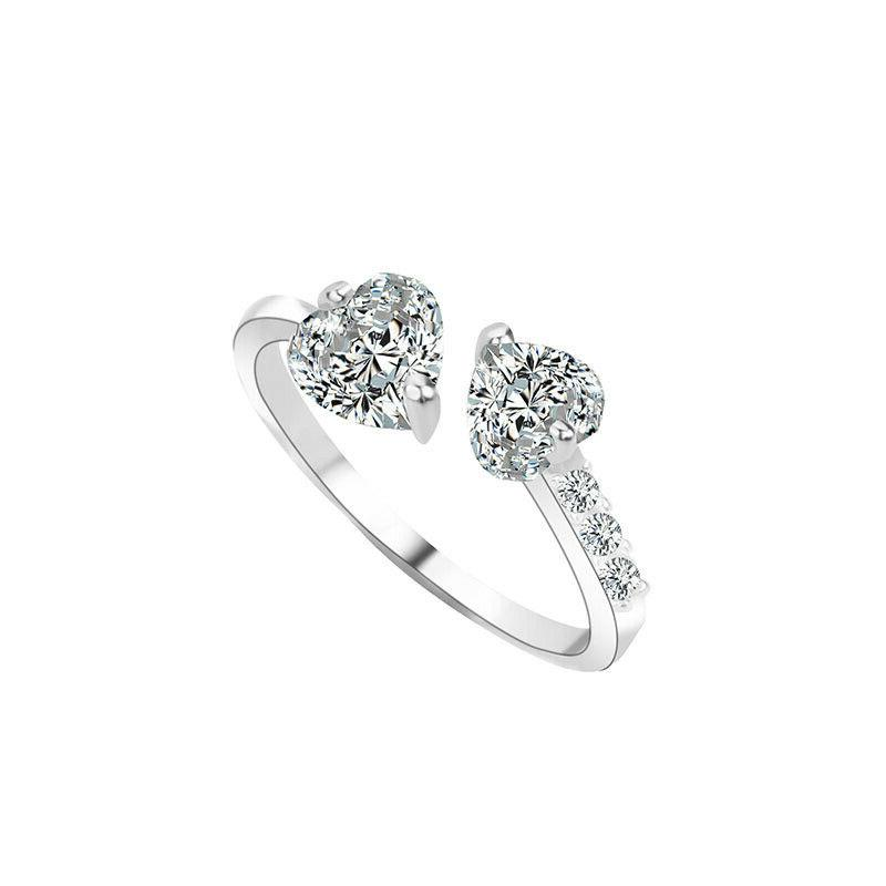 Double Heart Rhinestone Rings Adjustable Rings Jewelry For W