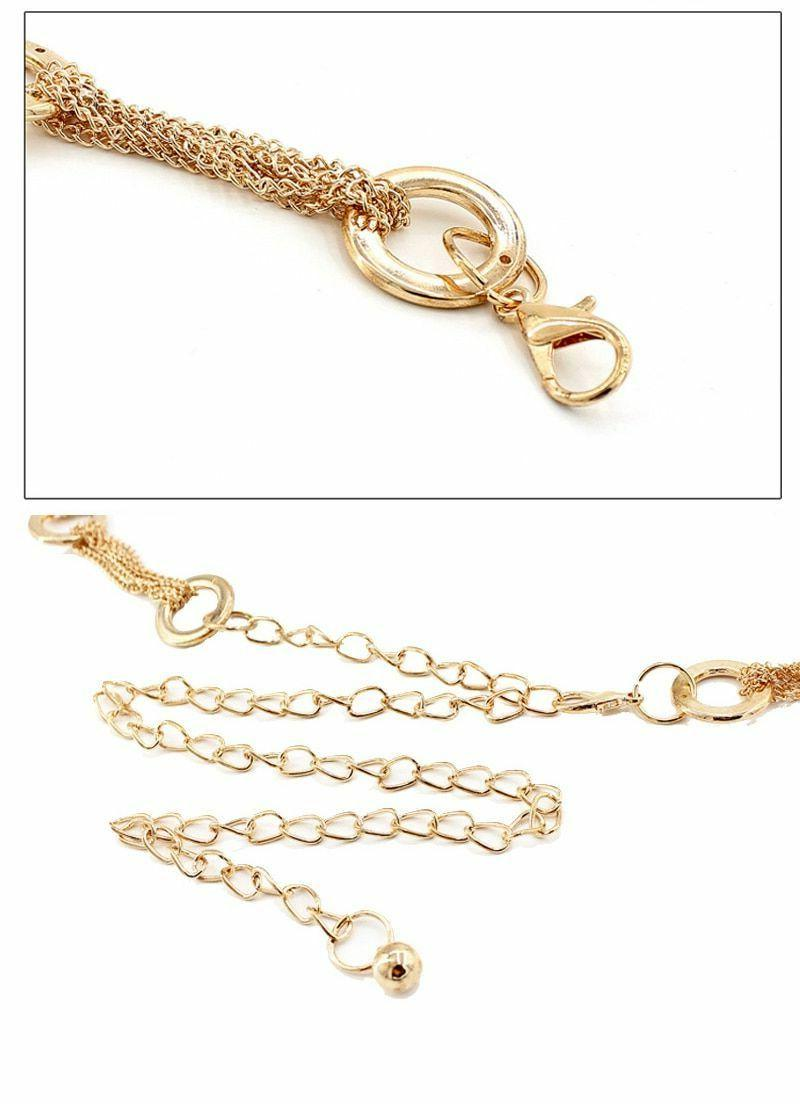 Gold Belt Metal Ring Waist Chain Luxury Narrow Elastic Stretch Strap