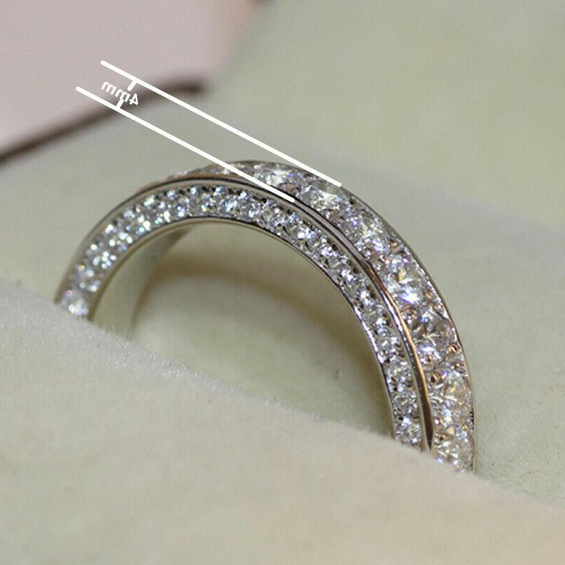 Gorgeous 925 for Women White Sapphire Rings Jewelry Size 6-10