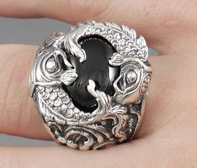 HEAVY JAPANESE BLACK FISH 925 STERLING SILVER RING