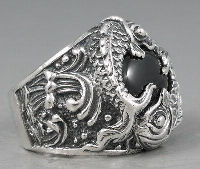 HEAVY LUCKY POWER FORTUNE JAPANESE FISH 925 STERLING SILVER MENS RING