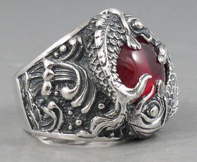 HEAVY JAPANESE RED 925 STERLING RING