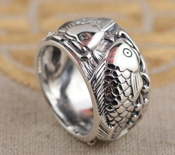 JAPANESE CARP LUCKY TATTOO STERLING COUPLE RING