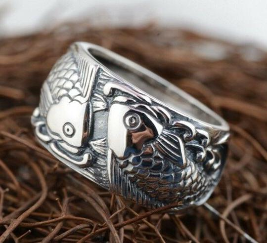 JAPANESE LUCKY RING STERLING COUPLE