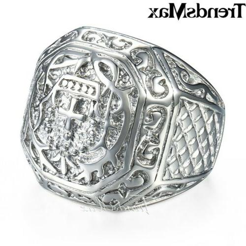 Male Ring Carved Cross Comfort Fit Men 8-13 Size