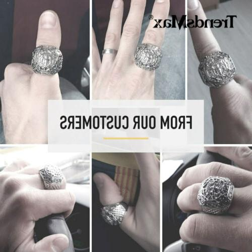 Male Ring Ring Carved Cross Fit Rings 8-13 Size