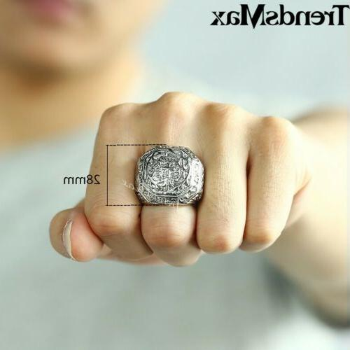 Male Stainless Ring Carved Comfort Fit for 8-13