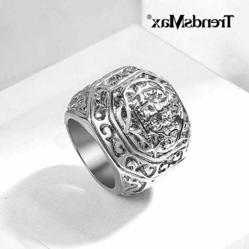 male ring stainless steel ring carved cross