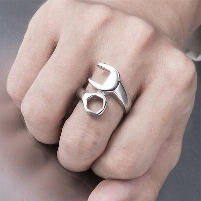 Mens Mechanic Wrench Stainless Ring Jewelry