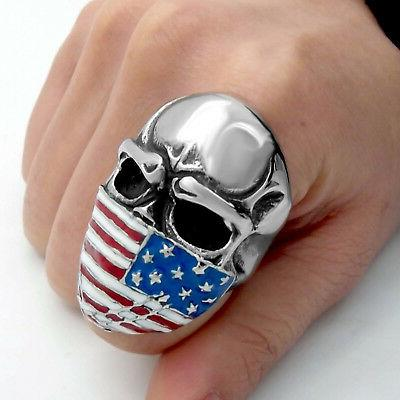 Mens Ring Large Mask Skull Jewelry 7-15