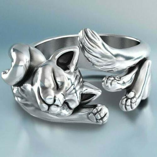 new 925 silver cute cat adjustable ring