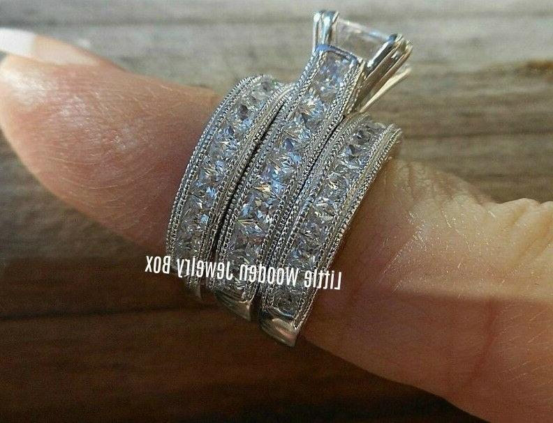 Real .925 Sterling 3pc Engagement Band Set size 5-9