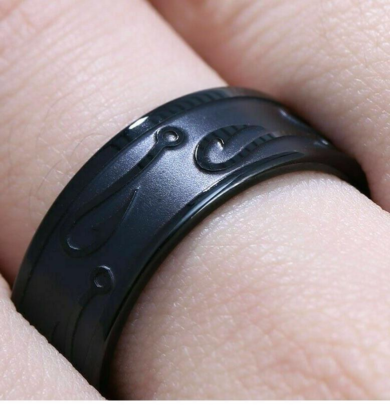 RINGS MENS Stainless Tungsten FISH HOOK RING