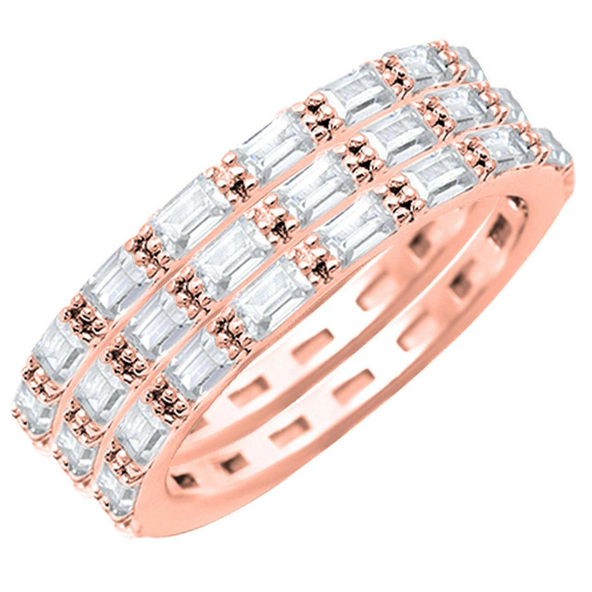 Rose Gold Finish Baguette Simulated Sterling Ring