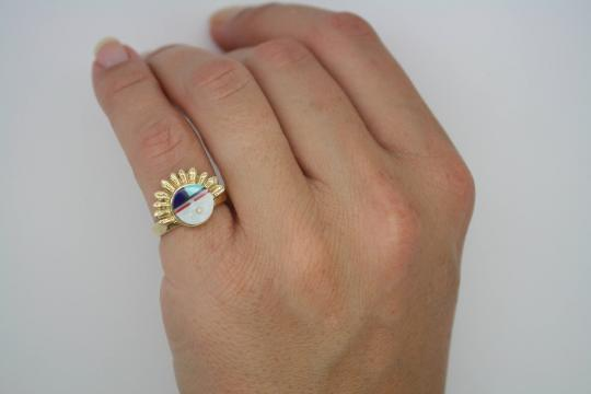 SEE VIDEO 14k Yellow Gold ZUNI Fine Inlay Ring