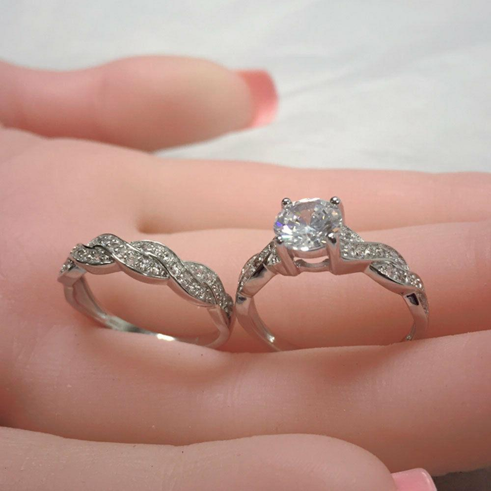 Solid Silver Women's Ring Band Set