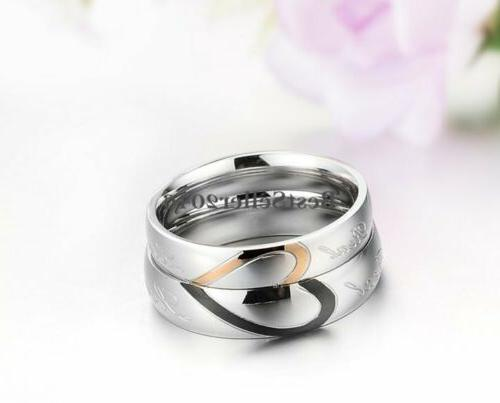 "Stainless "" Love Heart Promise Ring Wedding Band"