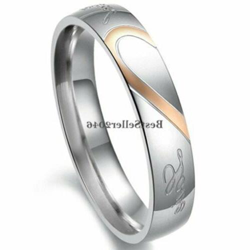 "Stainless Love "" Heart Promise Ring Band"