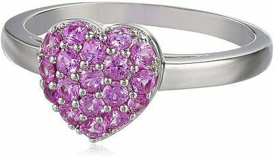 sterling silver created pink sapphire cluster heart