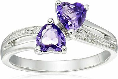 sterling silver diamond accent and amethyst two