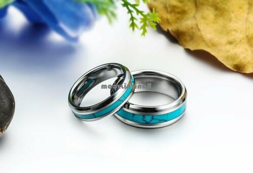 Tungsten Ring Turquoise Wedding Band