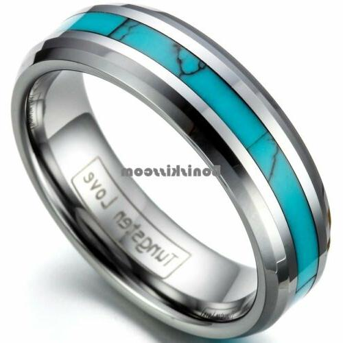 Tungsten Carbide Ring Turquoise Engagement Wedding Band