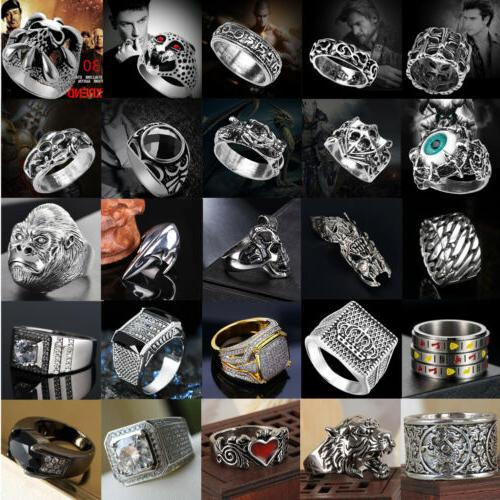 Men's Stainless Steel Silver Gold Rings Gothic Punk Charm Bi