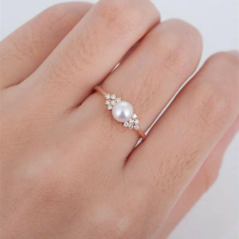 Women's Crystal Pearl Jewelry Rose Gold Ring Filled Wedding