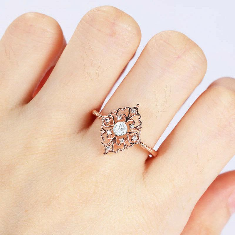 Women's Rose Filled Jewelry Rings White Sapphire 6-10