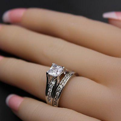 AAA CZ Wedding Ring Set Size 5,6,7,8,9,10,11