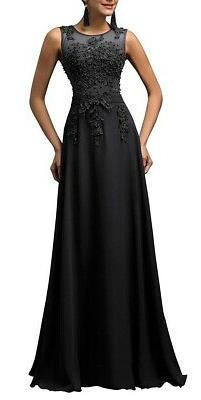 GRACE KARIN Womens Gown Black Size 8 Embellished-Embroidered