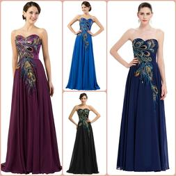 Long Formal Evening Dress Party Prom Dresses Embroidery Stra