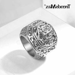 Male Ring Stainless Steel Ring Carved Cross Comfort Fit Ring