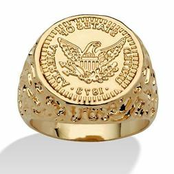 Men's 14k Gold-Plated American Eagle Coin Nugget-Style Ring