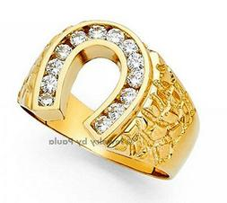 Men's 14k yellow Big Bold Real Gold Nugget Ring with Horsesh