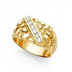 Men's 14k yellow Big Bold Real Gold Nugget Ring with man mad