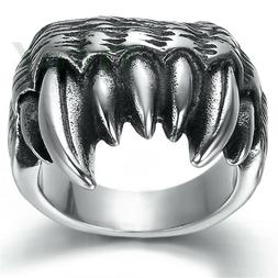 Men's Jewelry Stainless Steel Ring Gothic Wolf Dragon Claw T