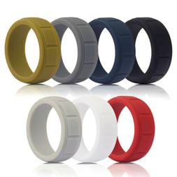 Men's Silicone Wedding Ring Working Sports Rubber Band 8mm S