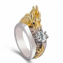 Men's Sliver Domineering Dragon Rings Gold/Silver Color Whit