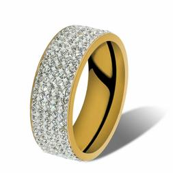 Men Women Stainless Steel Crystal Band Ring Gold Silver Wedd
