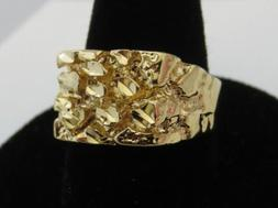 MENS 14 KT GOLD PLATED DESIGNER NUGGET STYLE RINGS, 3 TYPES
