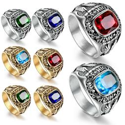 Mens Boys High School Class Rings Stainless Steel Charms Gem