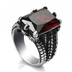 Mens Boys Silver Dragon Ruby Red Cz Stainless Steel Biker Ri